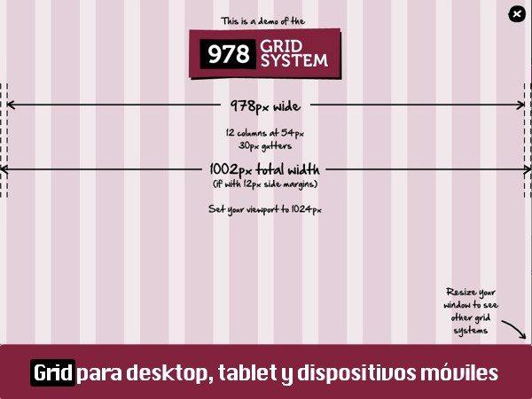 978.gs grid para escritorio, tablet y dispositivo móviles