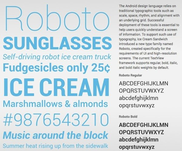 Roboto descargar gratis la tipografía de Android Ice Screen Sandwich