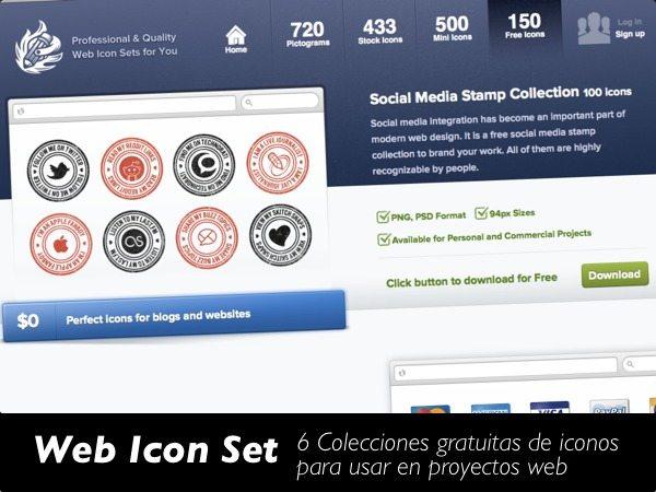 Web icon Set - 6 Colecciones gratuitas de iconos para usar en proyectos web