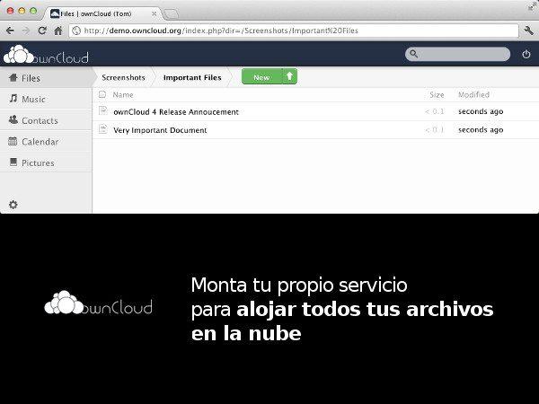 ownCloud - sistema para montar un sistema de archivos cloud