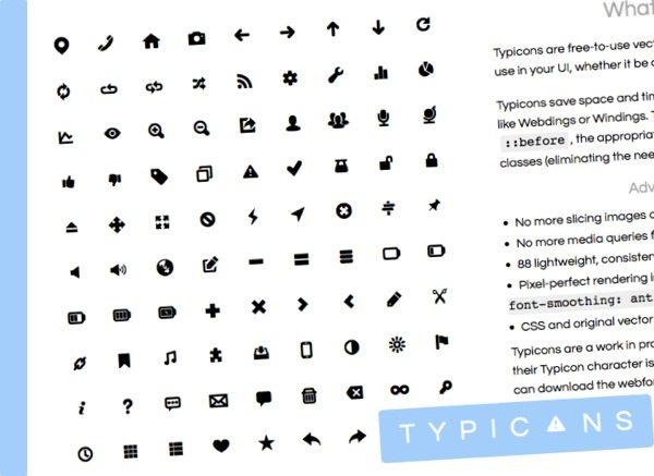 Typicons iconos vectoriales gratuitos con archivos fuentes