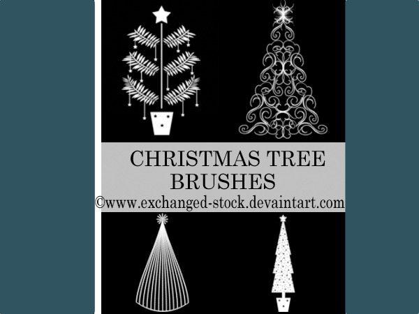 Christmas-Trees-brushes-Photoshop 5 Colecciones de brushes para Photoshop para diseños navideños