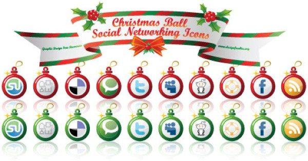 Christmas Ball Social Networking Icons