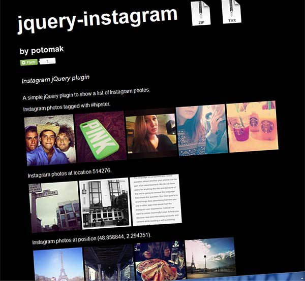 jQuery-Instagram