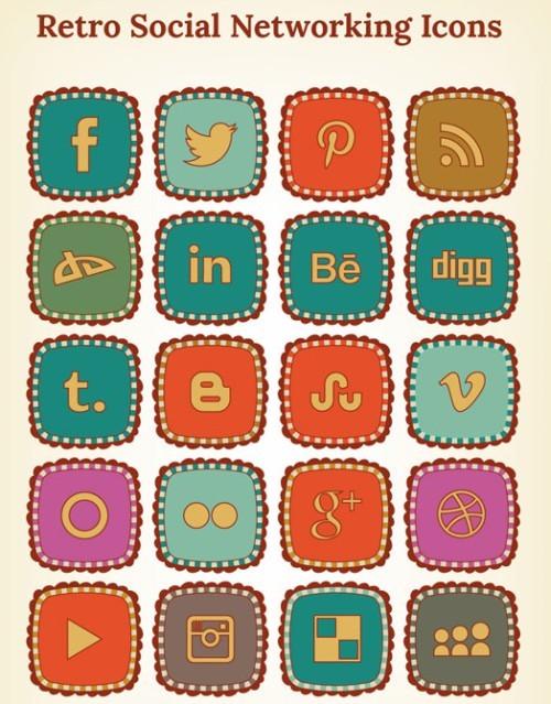 Retro Social Networking Icons