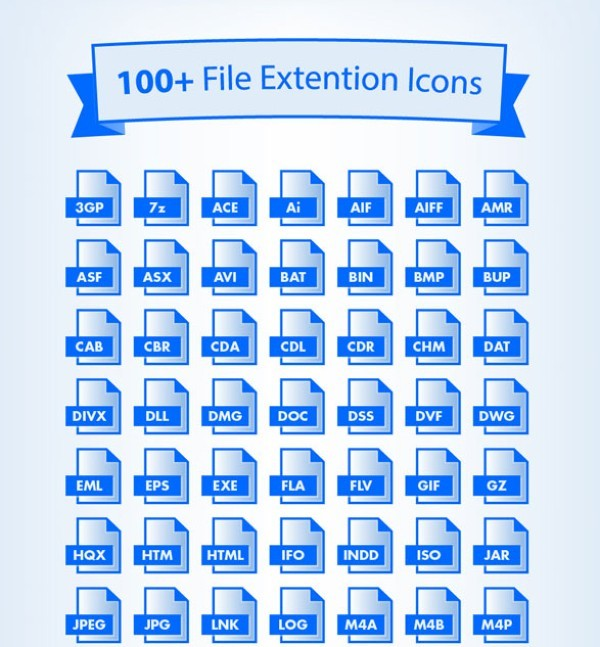 100 + File Extensions Icons