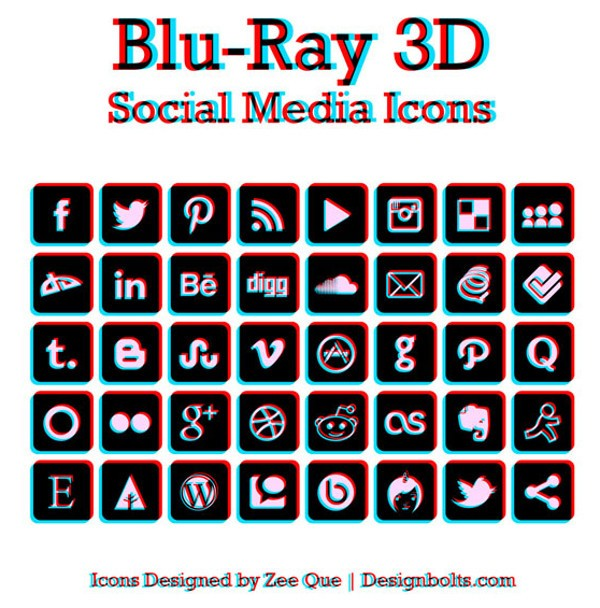 BluRay 3D Social Media Icons