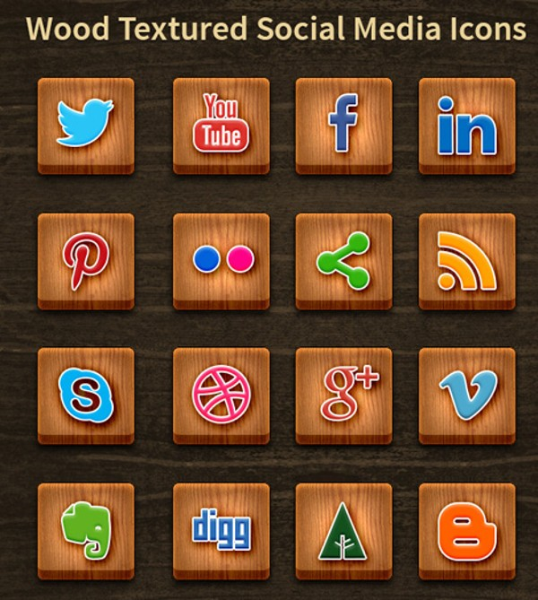 Wood Textured Media Social Icons