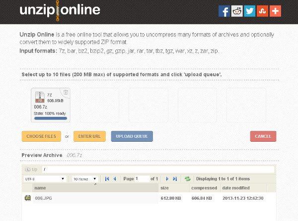 Unzip Online