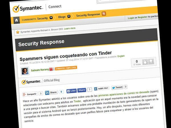 Symantec Alerta - Tinder app