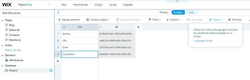 WixCode Database Editor