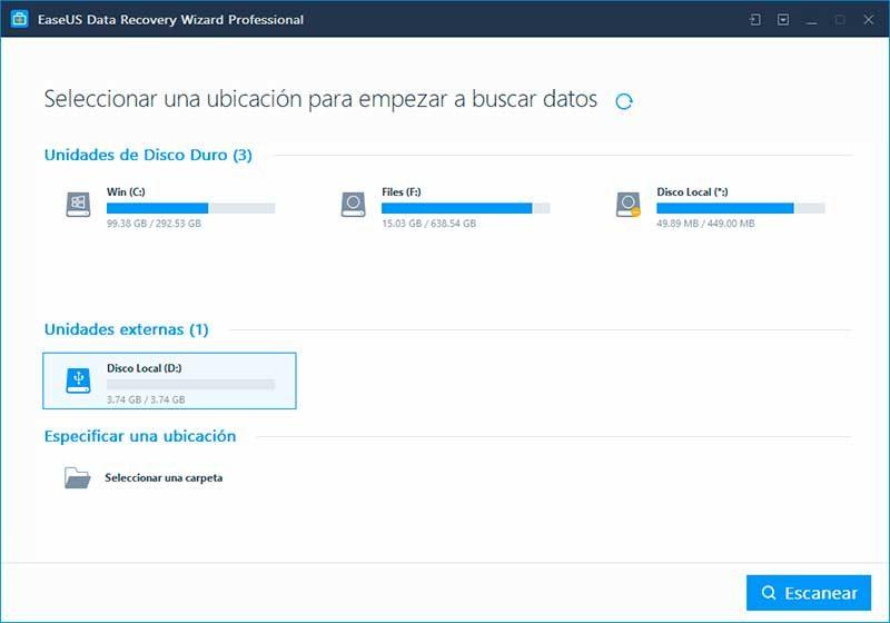 EaseUS Data Recovery - paso 1 - recuperar archivos borrados