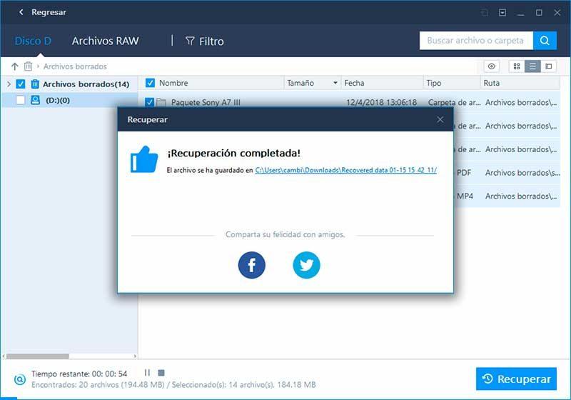 EaseUS Data Recovery - paso 6 - recuperar archivos borrados