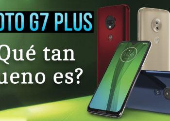 Muestra log Moto G7 y tiene un texto que dice: Moto G7 Plus